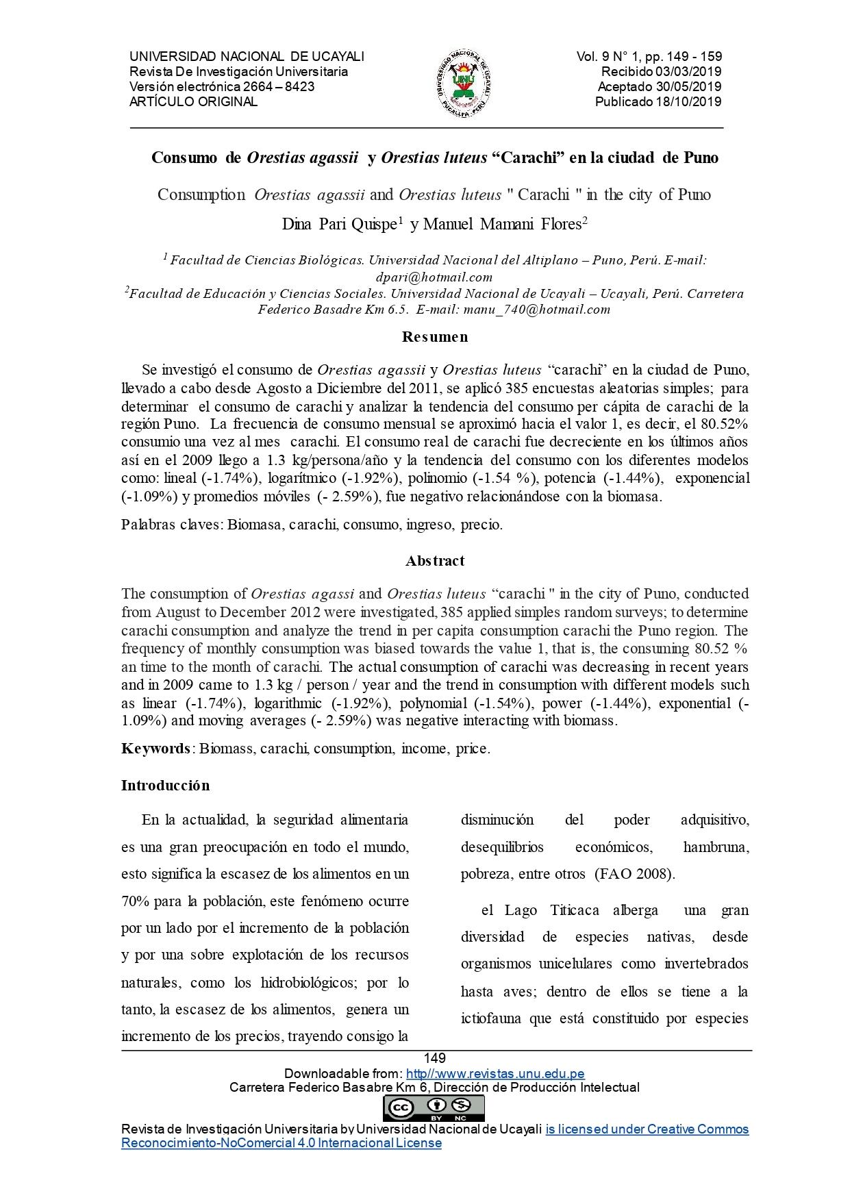 """Consumo de Orestias agassii y Orestias luteus """"Carachi"""" en la ciudad de Puno"""